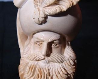 Lot 2 - Unknown carver Meerschaum Pipe, Man with Big Beard and Feather