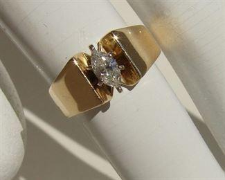 LOT 151 - Ladies 14K .42 Carat Marquee Cut Diamond Ring VS2 Size 6.5