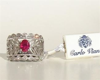 Lot 152 - NWT Carlo Viani Ladies 14K White Gold natural Ruby and Diamond Ring Size 6