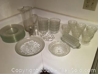 Assortment of Clear Glass Plates, Bowls, More