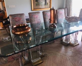 ABSOLUTELY fantastic acrylic and glass double pedestal dining table by Jeffry Bigelow