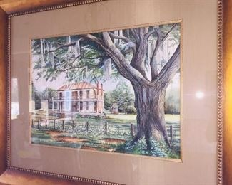original painting by S. Castille of the Oakbourne Plantation  of Oakbourne Country Club fame