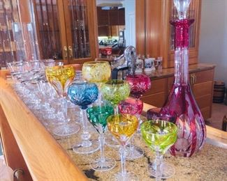 fine collection of colored Czech  stemware with matching decanter