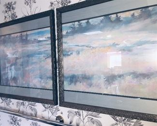 "two framed  watercolors that make one  piece of art--signed Neene '86  ""Beaver Marsh"""