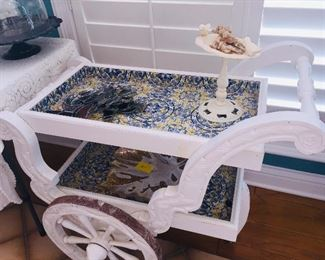 blue  and yellow tiled tea cart