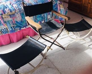Hollywood glamour style director chair and two matching  stools