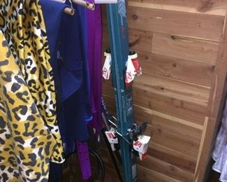 skis and ski clothing both men and  women