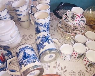 Blue and white including tankards with silver bands