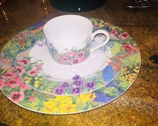 Nika  brand floral dishes--place settings for 15