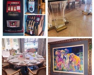 Beautiful estate that features vintage slot machines, a Jeffry Bigelow table, and a signed very large Leroy Neiman artist proof