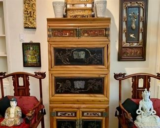 Chinese Bamboo Cupboard with Lacquer Panels;  Pair of Chinese Ancestor Chairs; Carved Lacquer Temple Pieces