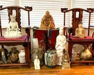 Ancestor Chairs; Chinese Figures, Vases, Jars