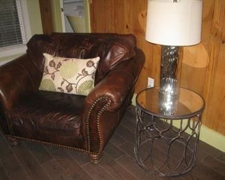 leather club chair and round metal end table with mirrored top (1 of 4)
