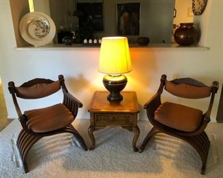 (2) Bentwood/Upholstered Armchairs, Wood End Table w/ Drawer