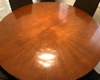"""54"""" Wood Pedestal Table, 2-12"""" Leaves, 4 Side Chairs"""
