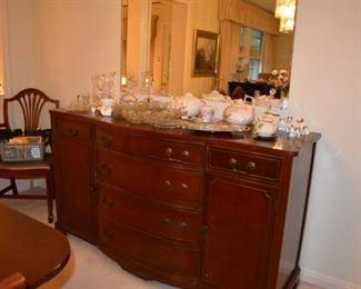 Mahagony Duncan Phyfe Buffet and Glassware, Crystal, Vases, Pitcher, Hull Tea Pot Set, Dog Figurines