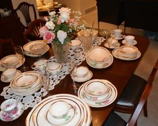 Overview of Dining Table, Stemware, Paden City Pottery Roses China