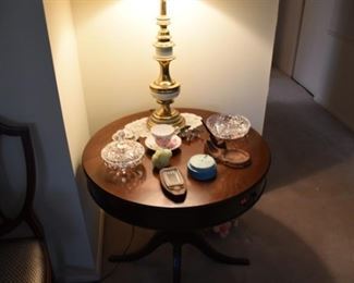 Mahagony TableI, Crystal covered Dish, Pipe Holder, Fenton Bird, Vintage Bank
