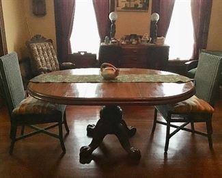 Oak Dining Table, Green Wicker Chairs