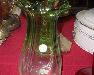 """9 1/2"""" Steuben Grotesque green vase #7282"""
