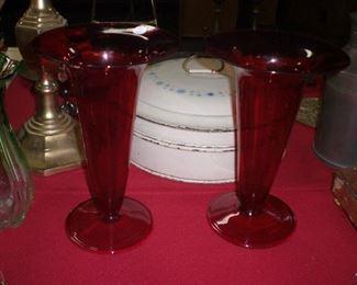 """pair Steuben 11"""" red optic rib trumpet vases #6034"""