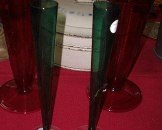pr. Steuben Selenium green bud vases #2556