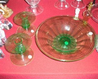 pr. Steuben green swirl mushroom candlesticks, large Steuben Optic Rib green footed bowl