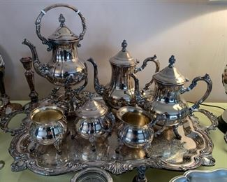 #1	Towle 6 piece silver plate coffee and tea service with tray	 $150.00
