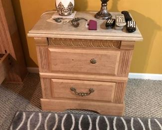 night stand to set with marble top,