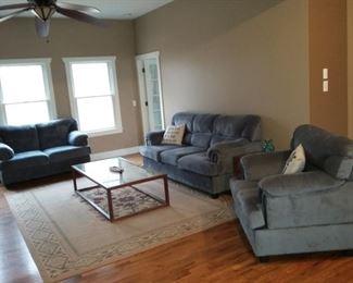 Living Room Sofa, Love Seat, and Plush Arm Chair Set