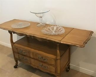 Serving cart-Solid wood- 2 drop leaf sides with storage beneath. On rollers