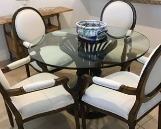 Kitchen/dining set . Round Table with glasstop, 4 matching armchairs-white upholstery Excellent Condition