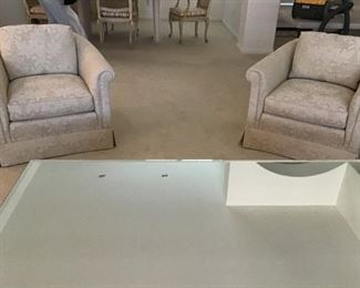 Pr. off white sidechairs, large square  mirrorred coffee table. 5ft x 3ft