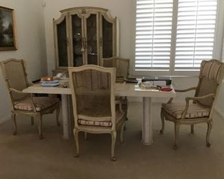 Dining table-Travertine -4 armchairs , Matching hutch with light