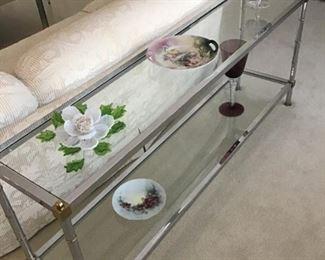 Chrome/Glass 2 level sofa/entry table