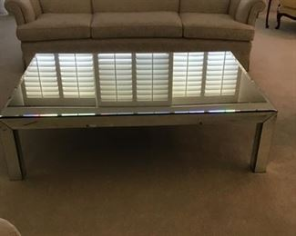 Very large square mirrorred cocktail table  6' x 4'