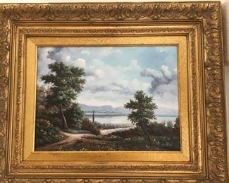 Original oil in antique frame
