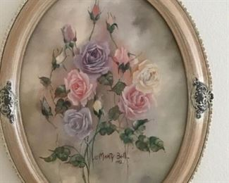 Original Marty Bell signed Oil in Oval Frame ( Roses)