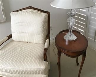 Pr. of matching side chairs with table. crystal lamp has silk shade