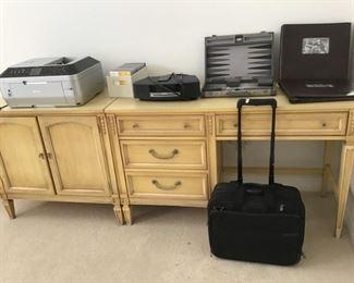 Light wood desk-4 drawer.  Matching storage cabinet