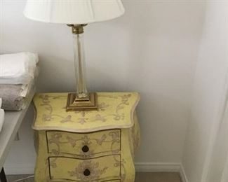 Pr. of FRench pale yellow 3 drawer  nightstands