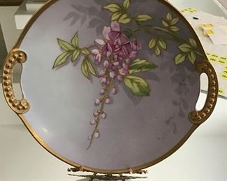 """12"""" floral plate with gold gilt trim"""