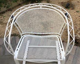 White iron single chair