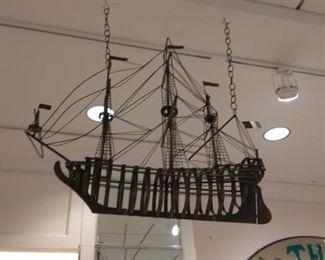 Mid Century Metal Ship Sculpture