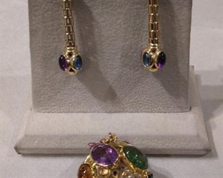 All Kinds of Semi Precious Stones in the Earrings and Charm