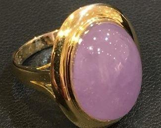 Lavender Jade in 14k yellow Gold Ring