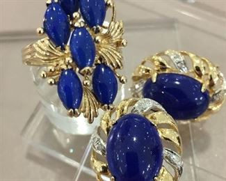Lapis and Diamond Gold Earrings and Ring