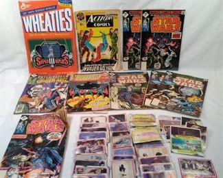 comic books and Star Wars cards