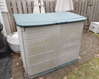 Two Rubbermaid storage bins available