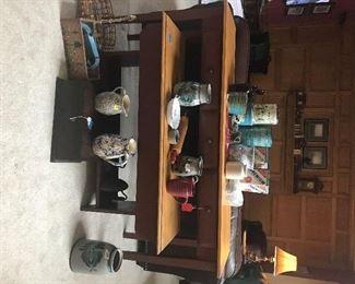 Vintage tin ware, sponge ware, wood boxes, crocks